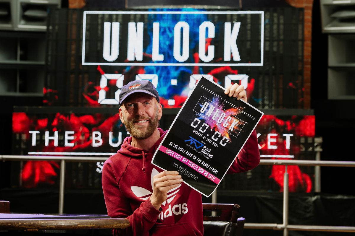 Martin Monahan at the Buttermarket, where an 'Unlock' party was planned