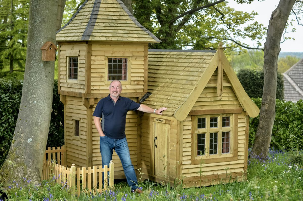 Mark Campbell, with his shed Winterwood, in Wingerworth, Derbyshire