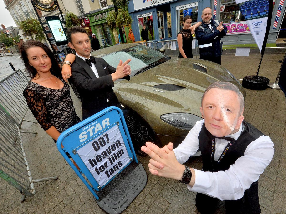 Wellington turned out to see a classic Aston Martin which was in town to mark the release of the latest James Bond film. As Daniel Craig is Liam McClellend, and from left are Michelle Busby, Anthony Nicholls, Damian Breeze and Katie Jarvis
