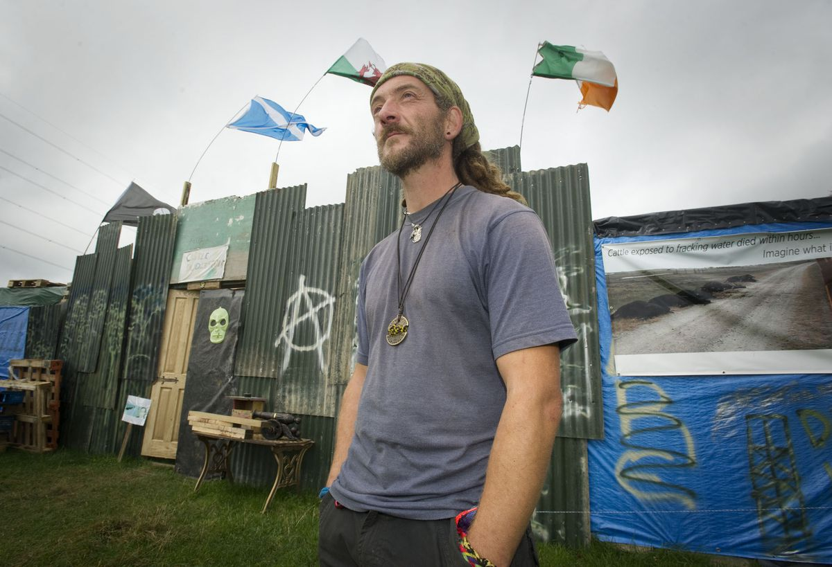 One of the protestors at the anti-fracking camp at Dudleston