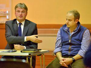Councillor Dan Morris' (right) ward could no longer be represented by Shrewsbury & Atcham MP Daniel Kawczynski (left)