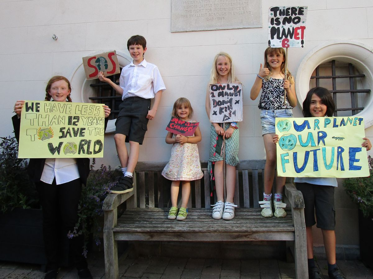 Some of the children who took part in the climate change protest in Bishop's Castle
