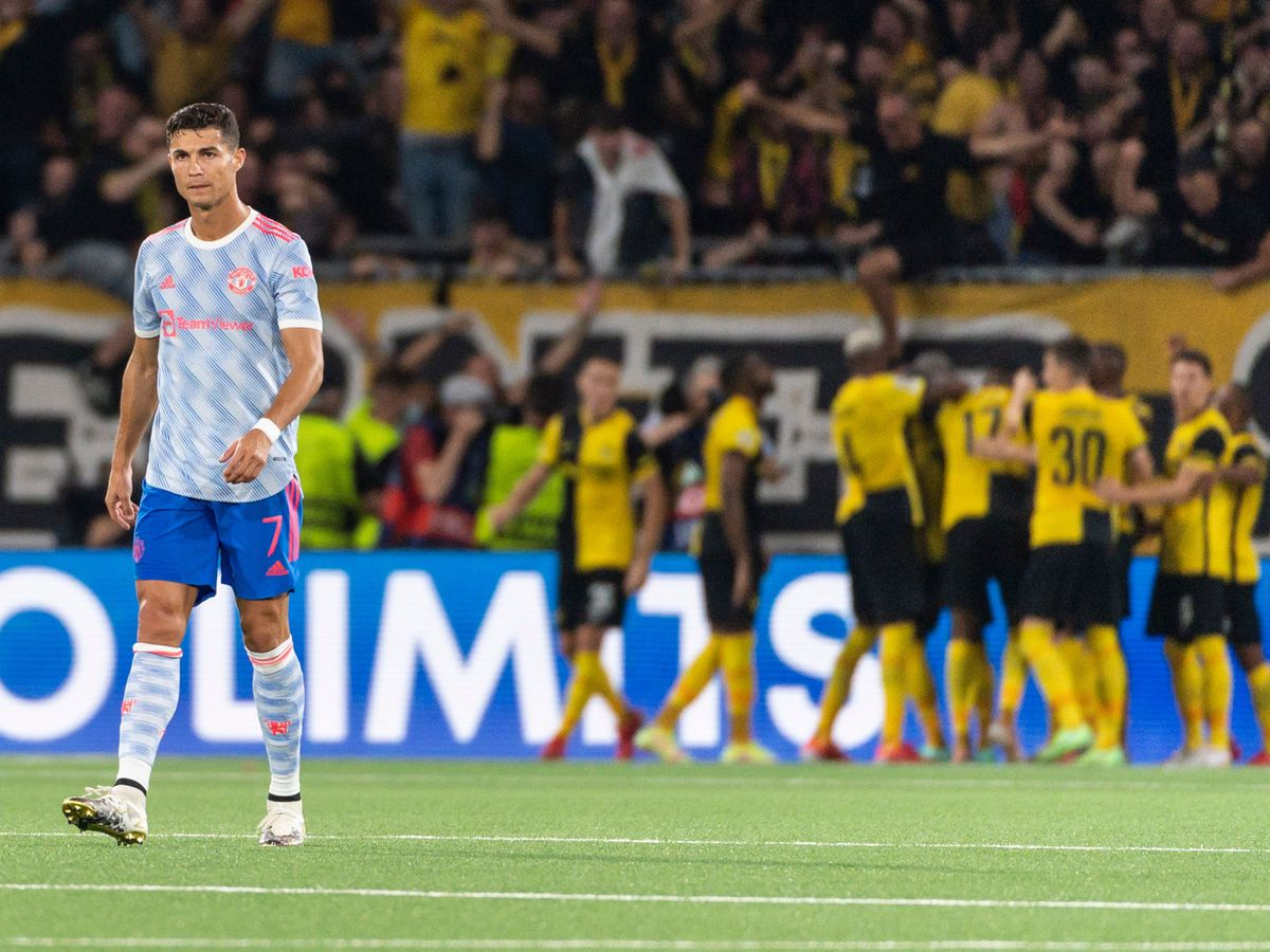 Manchester United's Cristiano Ronaldo (left) looks dejected after Young Boys score in the Champions League