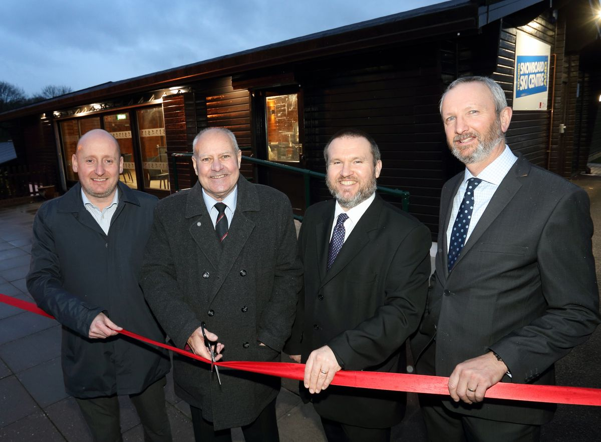 James West, chief operating officer of Morris Property, Councillor John Minor, cabinet member for leisure, green spaces and parks, Robin Glover, leisure operations manager and Steve Flavell, construction manager of Morris Property