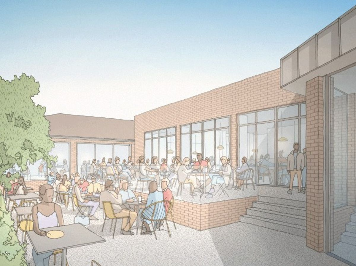 A glazed link extension and outdoor dining area will be created to the rear of the pub.