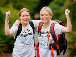 Lucia Holden and Willa Barham after their 210-mile walk