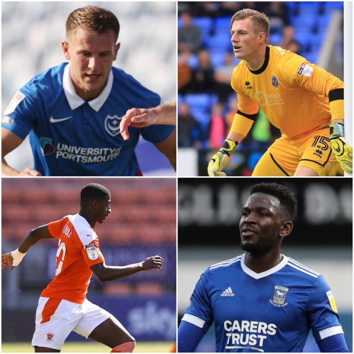 League One players out of contract at the end of June include former Town players Bryn Morris (Portsmouth), top left, Craig MacGillivray (also Portsmouth), top right, Sullay Kaikai (Blackpool), bottom left, and Toto Nsiala (Ipswich), bottom right, (AMA)
