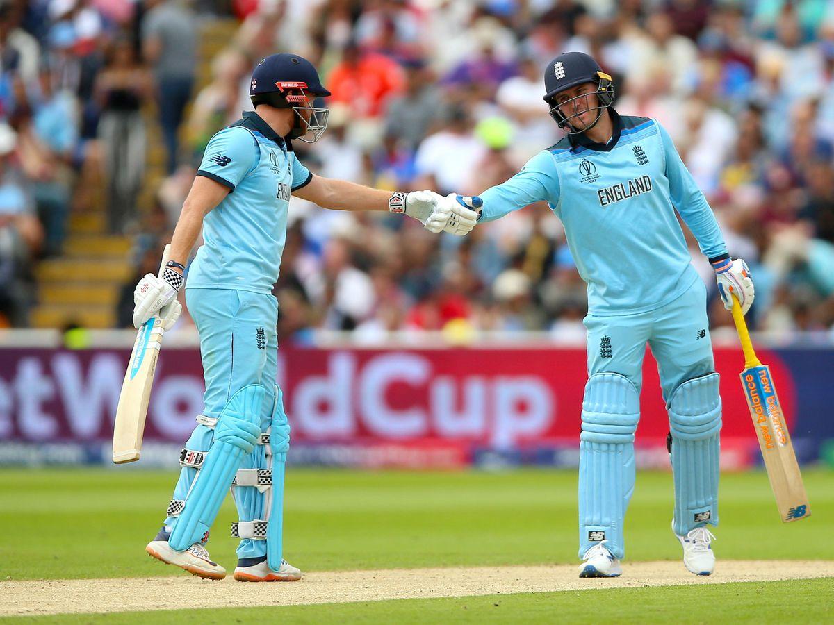 England's Jonny Bairstow, left, and Jason Roy shake hands