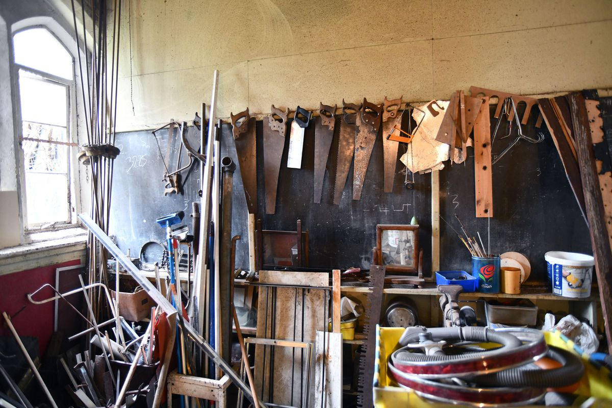 Workshop clutter in one of the old classrooms. Picture: Dave Bagnall.