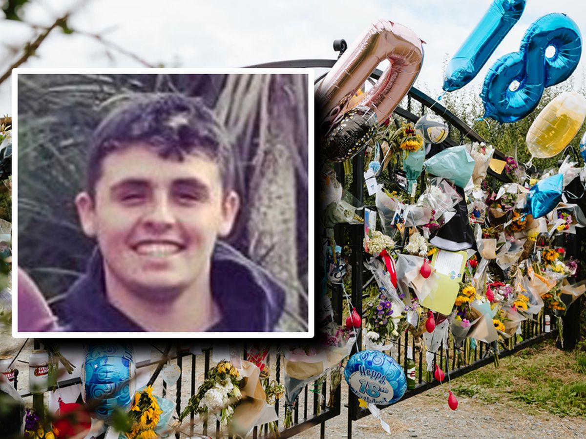 Tributes left in Bishop's Castle to Dylan Price, inset, who died aged 18
