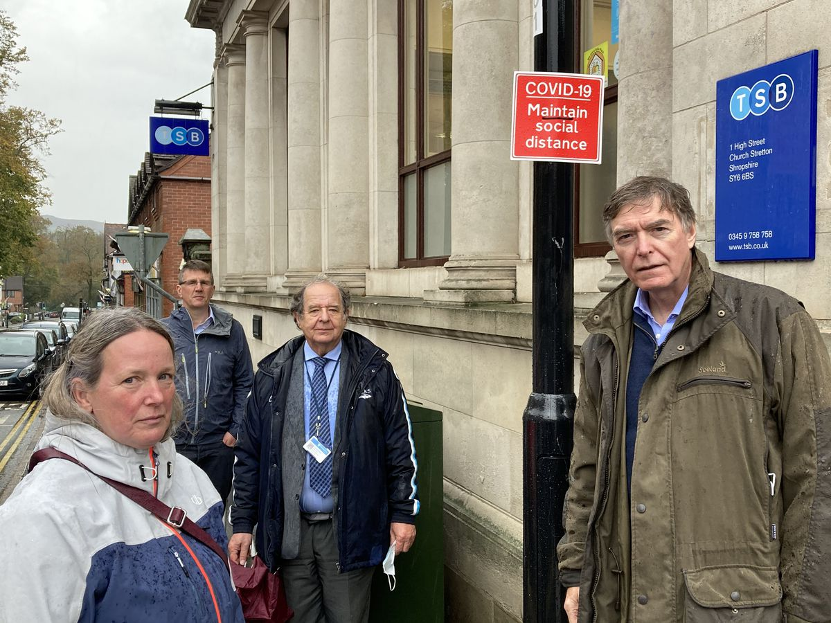 Councillor Hilary Luff with Philip Dunne MP (right) and Shropshire councillors Lee Chapman, back,  and David Evans, second right