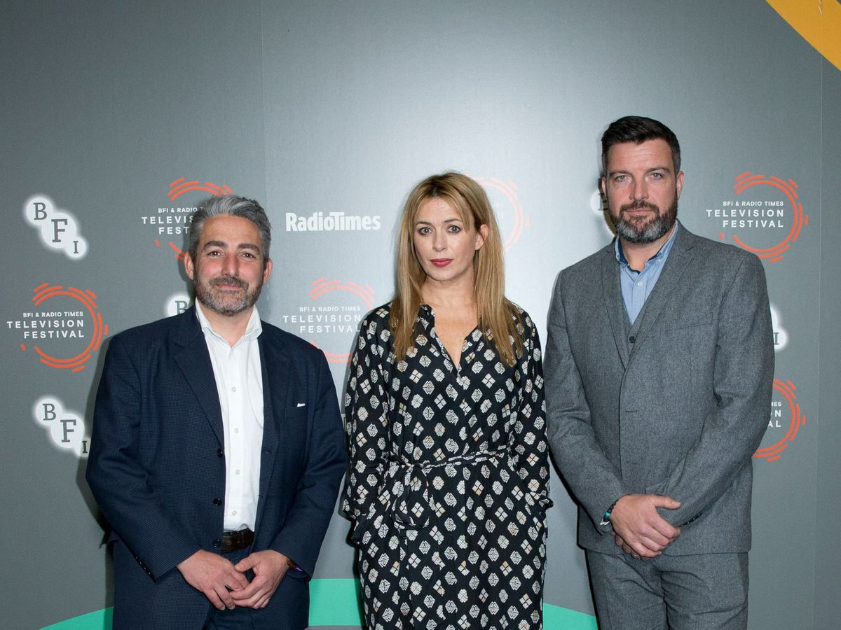 Keeping Faith's creator and writer Matthew Hall (left) with stars Eve Myles and Bradley Freegard