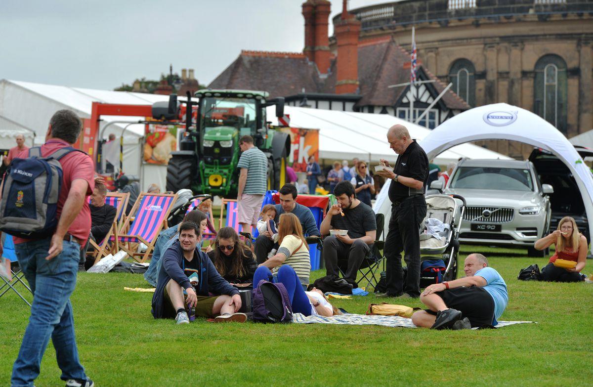 Enjoying Shrewsbury Food Festival, at The Quarry, Shrewsbury