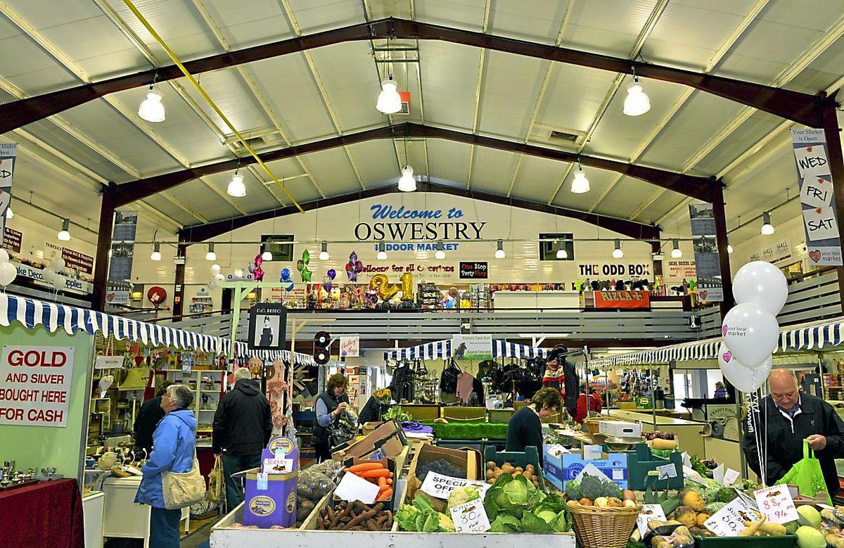 The indoor market in Oswestry