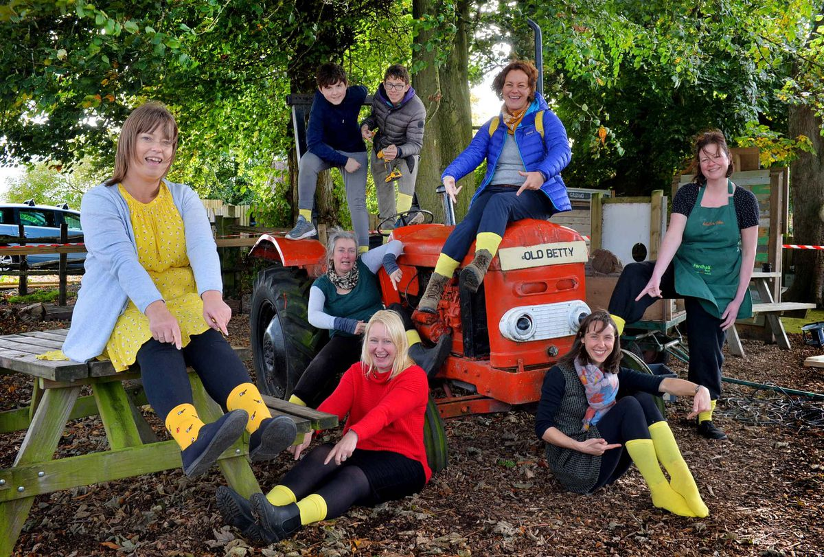 The bubble team at Fordhall Organic Farm with their yellow socks. From left are Marie Gibson, Jacob Bottomley (14) and Deren Brown (14), Wendy Murray, Davina Bridge, Nicola Syred, Charlotte Hollins and Nina Elizabeth