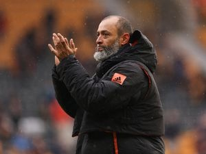 Nuno Espirito Santo the head coach / manager of Wolverhampton Wanderers applauds the fans at full time on his final game in charge of the team (AMA)