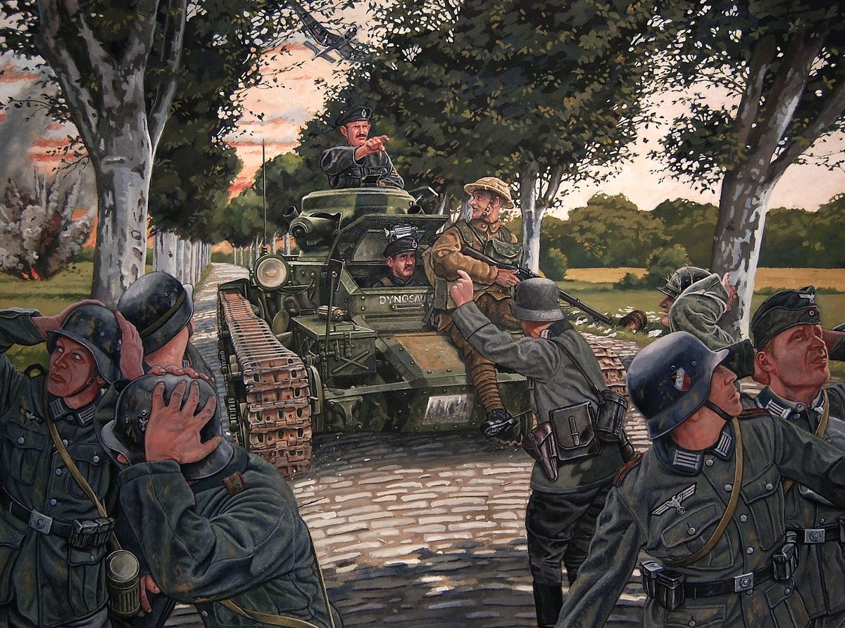 A painting depicting the capture of German troops by a tank commanded by Strick in May 1940.