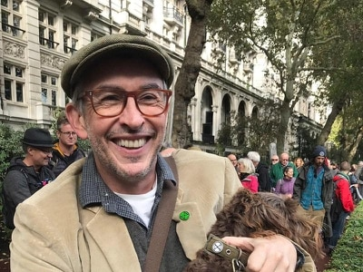 Steve Coogan joins Extinction Rebellion as they march towards Whitehall