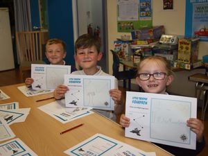 Students at St Mary's CE Primary School, Shawbury, taking part in a workshop
