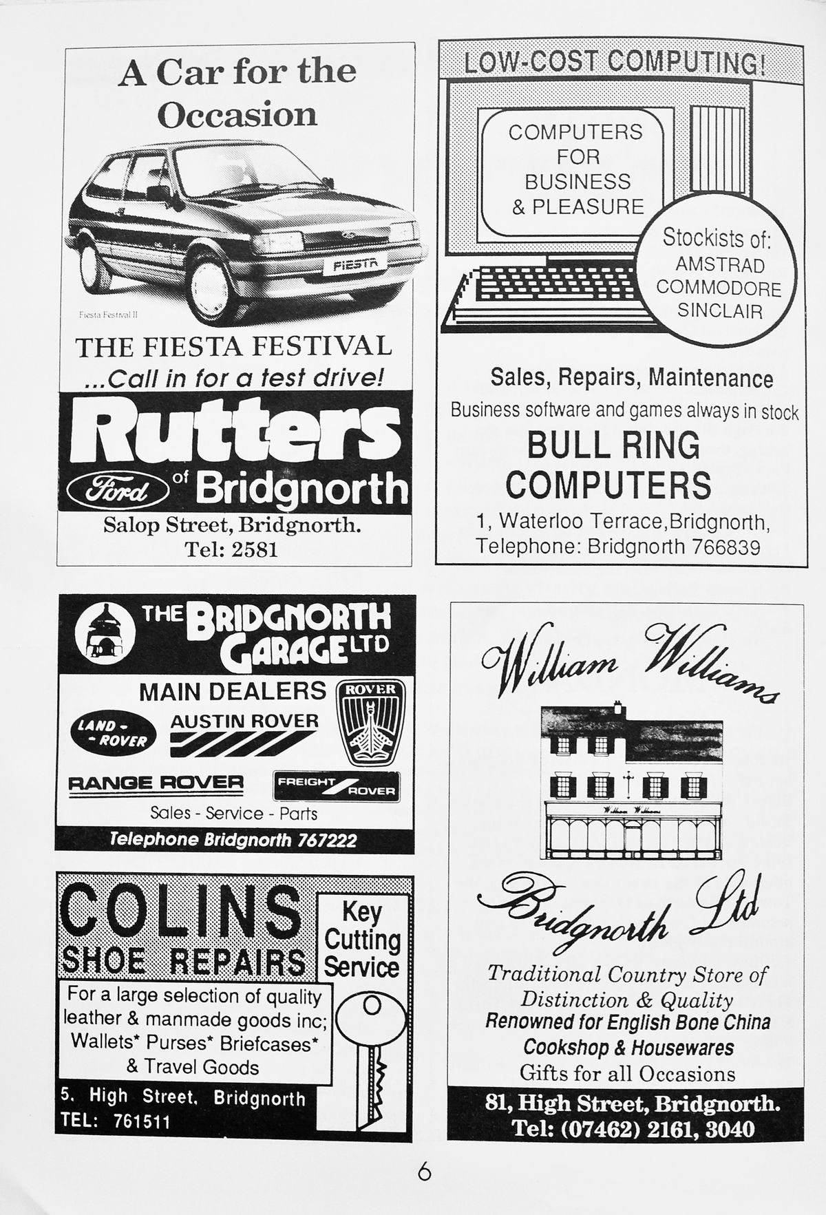 Remember these? A page of adverts in the official souvenir programme.