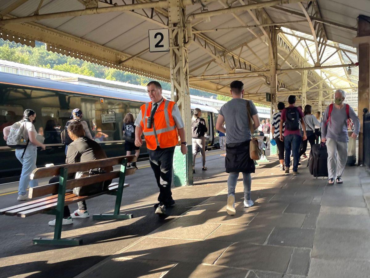 The platforms at Bath Spa railway station