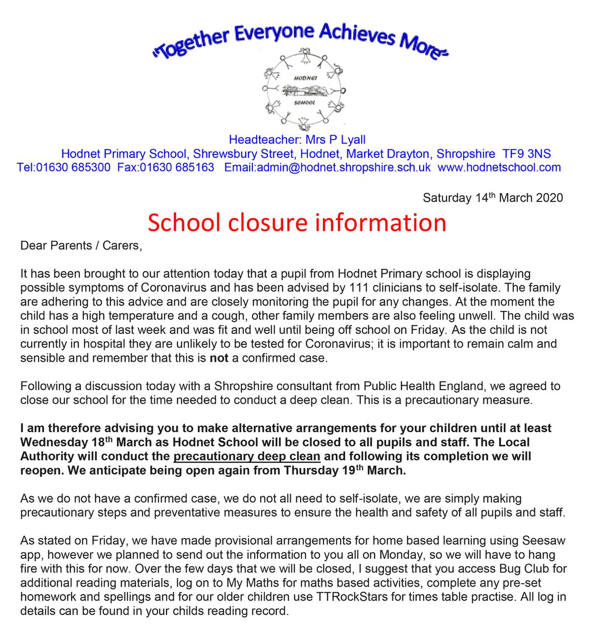 The letter from Hodnet Primary School to parents explaining why the school is shut for a deep clean
