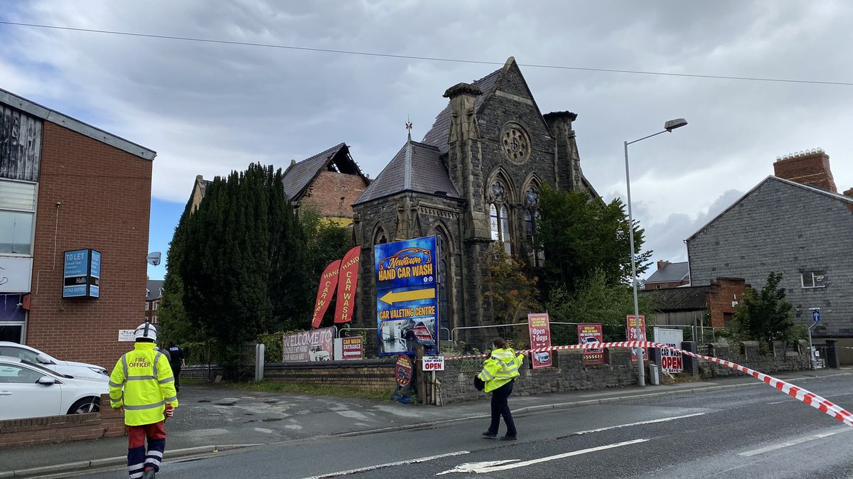 Emergency services close the road outside the chapel. Photo: Paul Williams H18-PDW Photography
