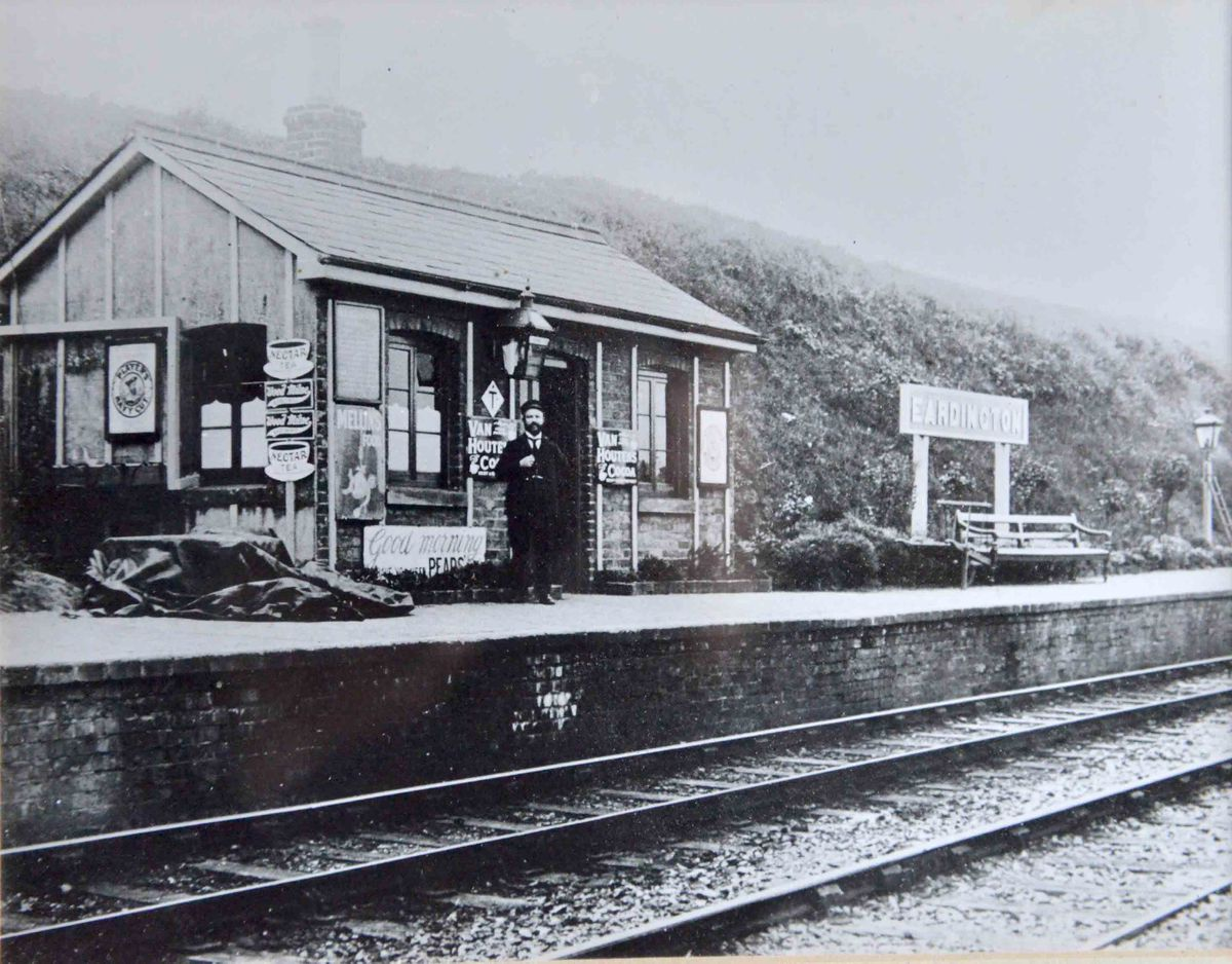 Eardington halt station on the Severn Valley Railway in 1910 and former station master George Cooke