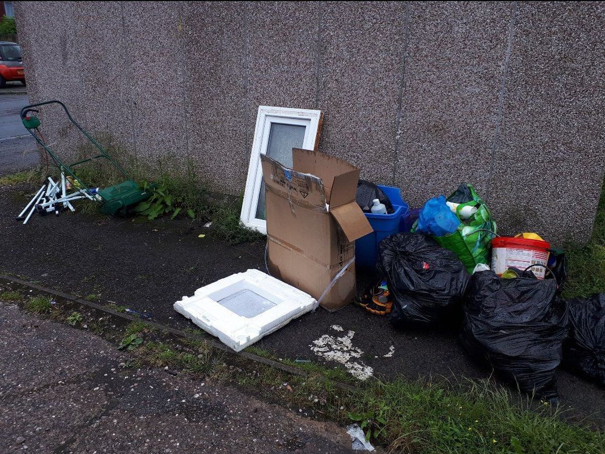 Rubbish fly-tipped in Donnington Wood, Telford, last year. Photo: @TelfordCops