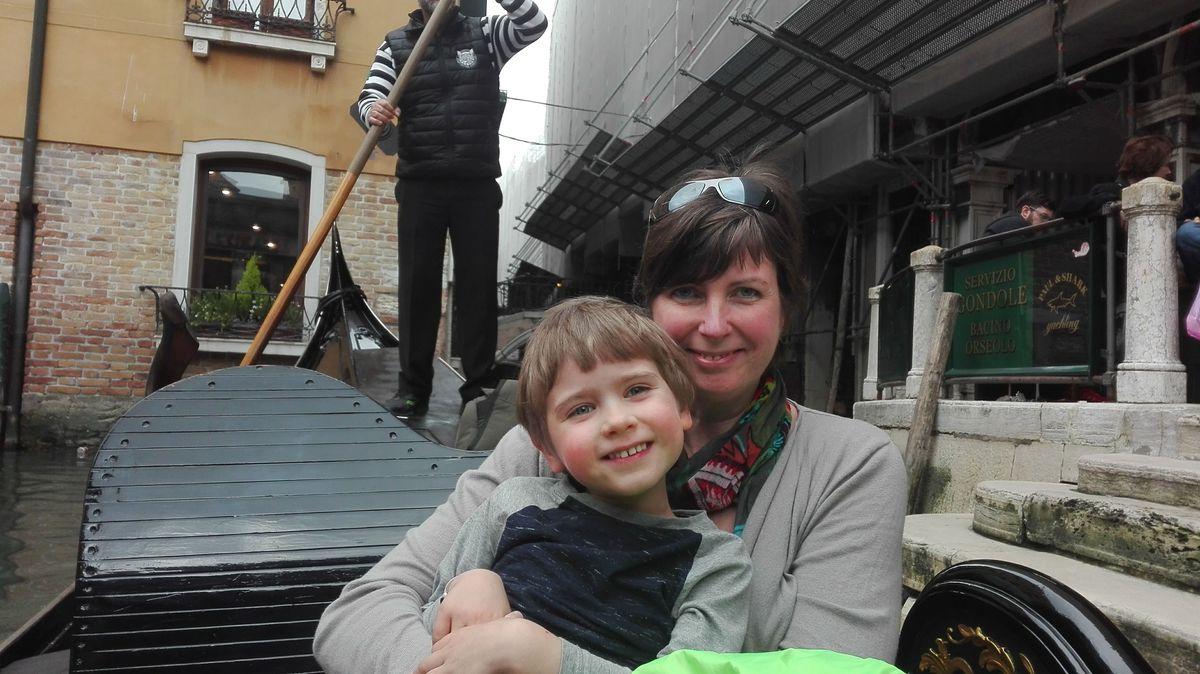 Lea and Harrison on a gondola in Venice