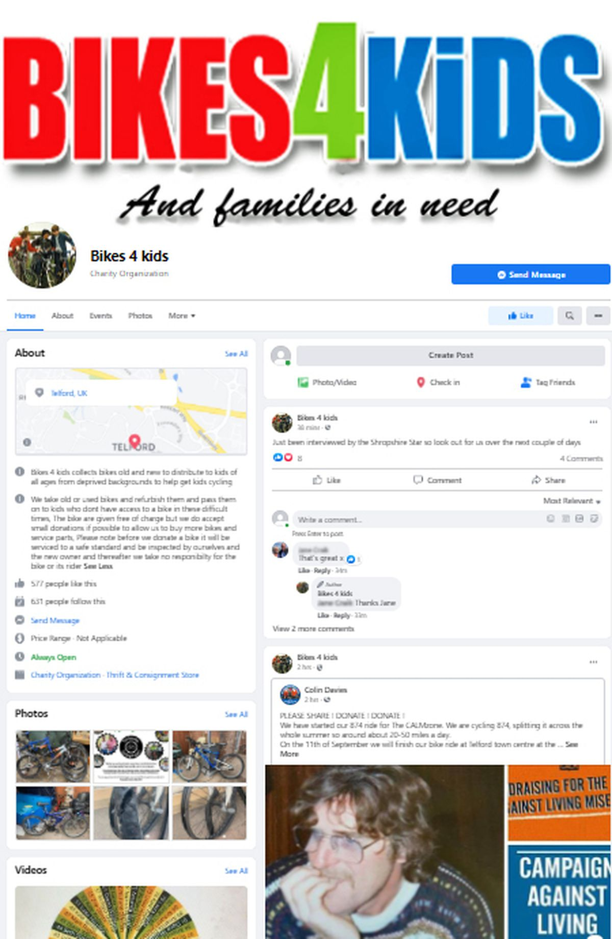 The Bikes 4 Kids page on Facebook
