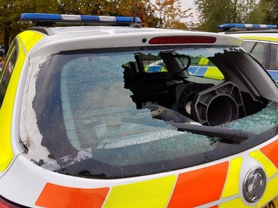 Vandals attack two police cars in Shrewsbury disorder