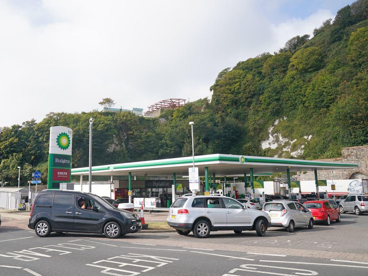 Vehicles at a petrol station
