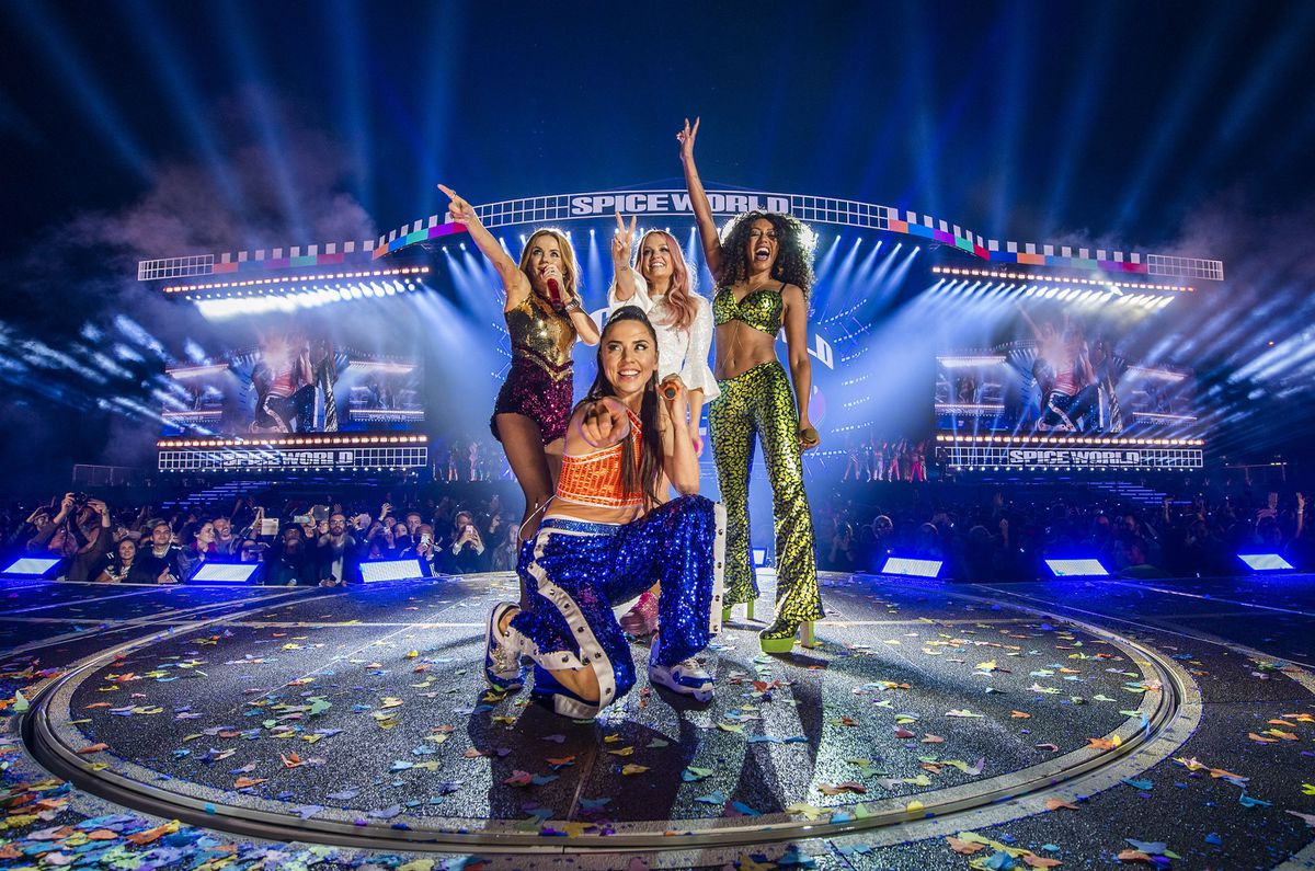 Spice Girls on stage during their reunion tour. Picture: Andrew Timms/PA Wire