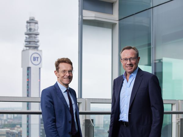 Andy Street Mayor of the West Midlands with BT chief executive Philip Jansen at Three Snowhill with the BT Tower in the background