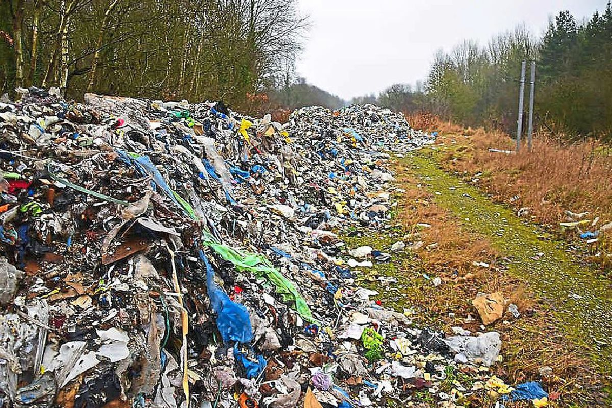 A huge pile of rubbish that was dumped at Horsehay in Telford