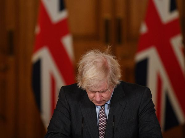 Prime Minister Boris Johnson during Tuesday's media briefing in Downing Street