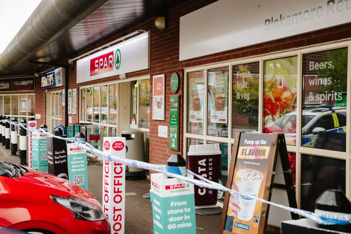 The Spar remained cordoned off on Wednesday morning