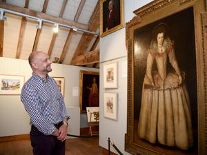 Gareth Williams admires the artwork at Weston Park