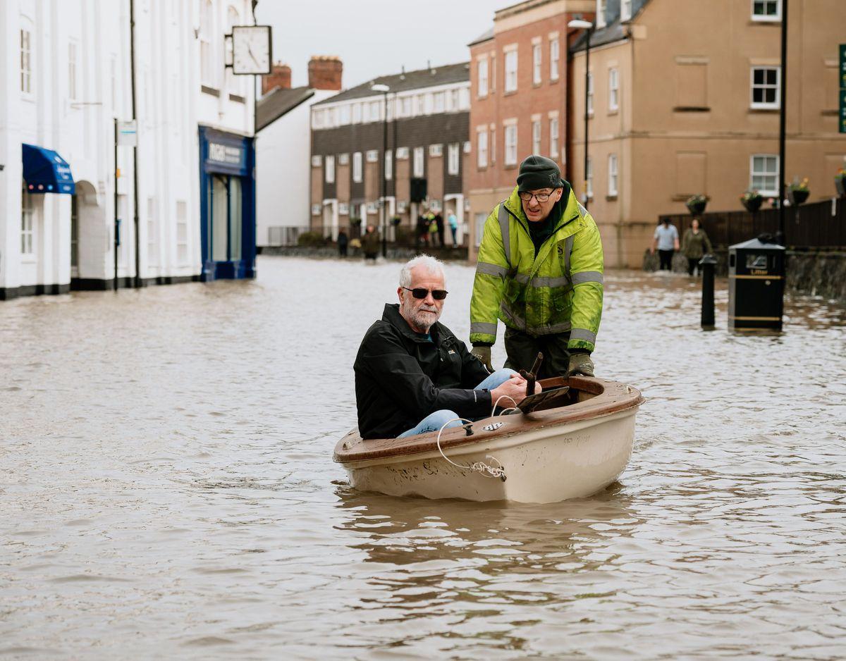 Flooding in Shrewsbury earlier this year.