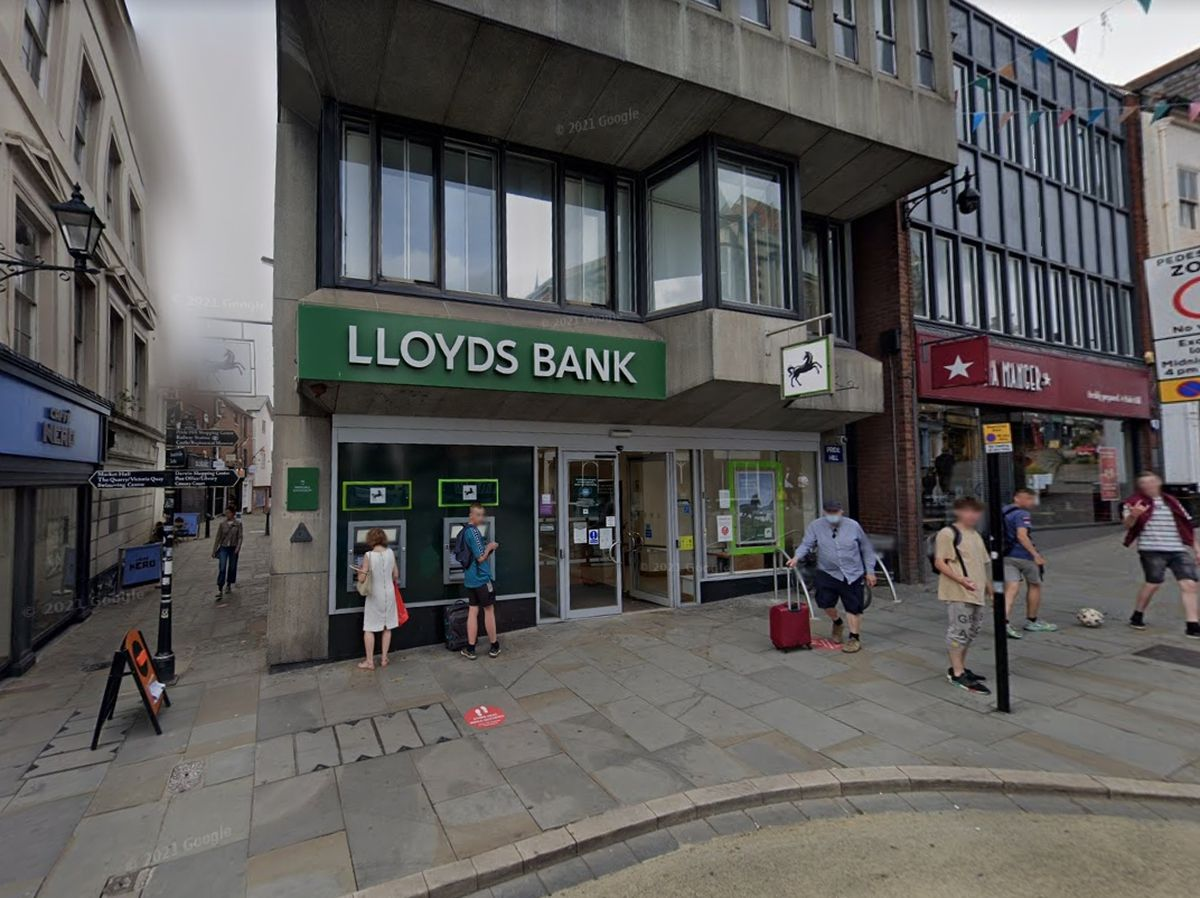 The attack happened outside Lloyds Bank in Shrewsbury. Photo: Google