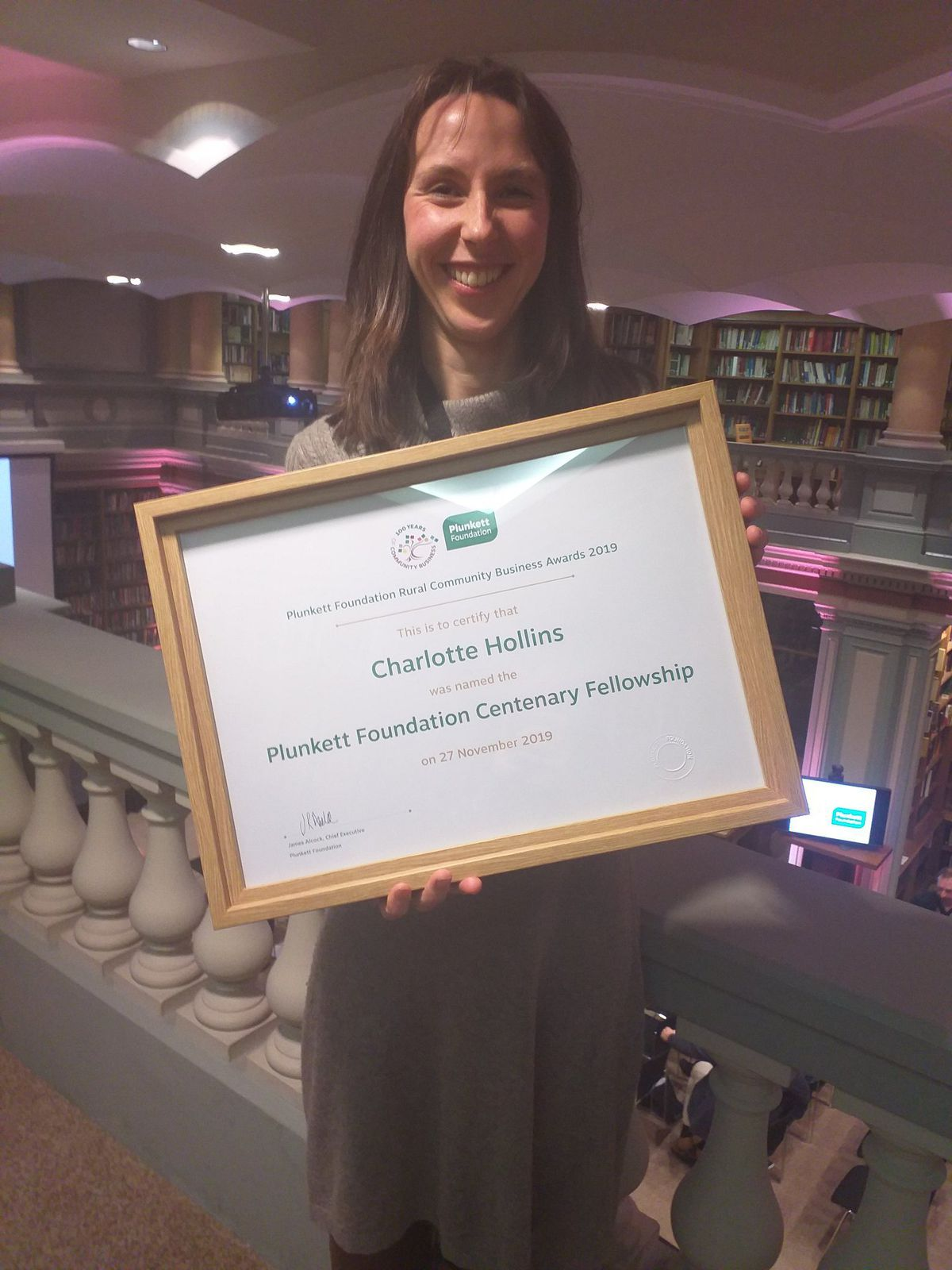 Charlotte with her award