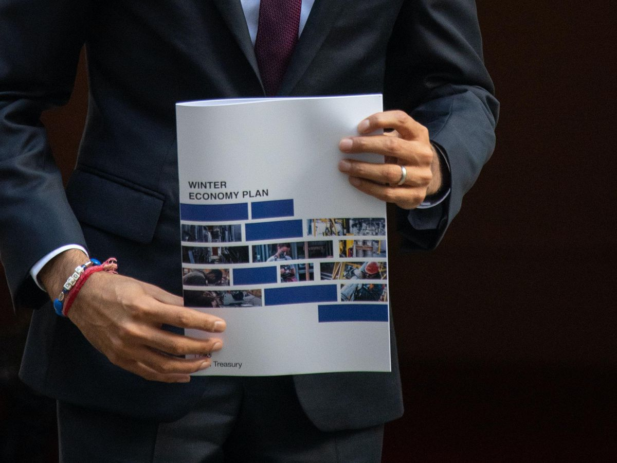 Rishi Sunak holds a copy of his Winter Economy Plan outside No 11 Downing Street