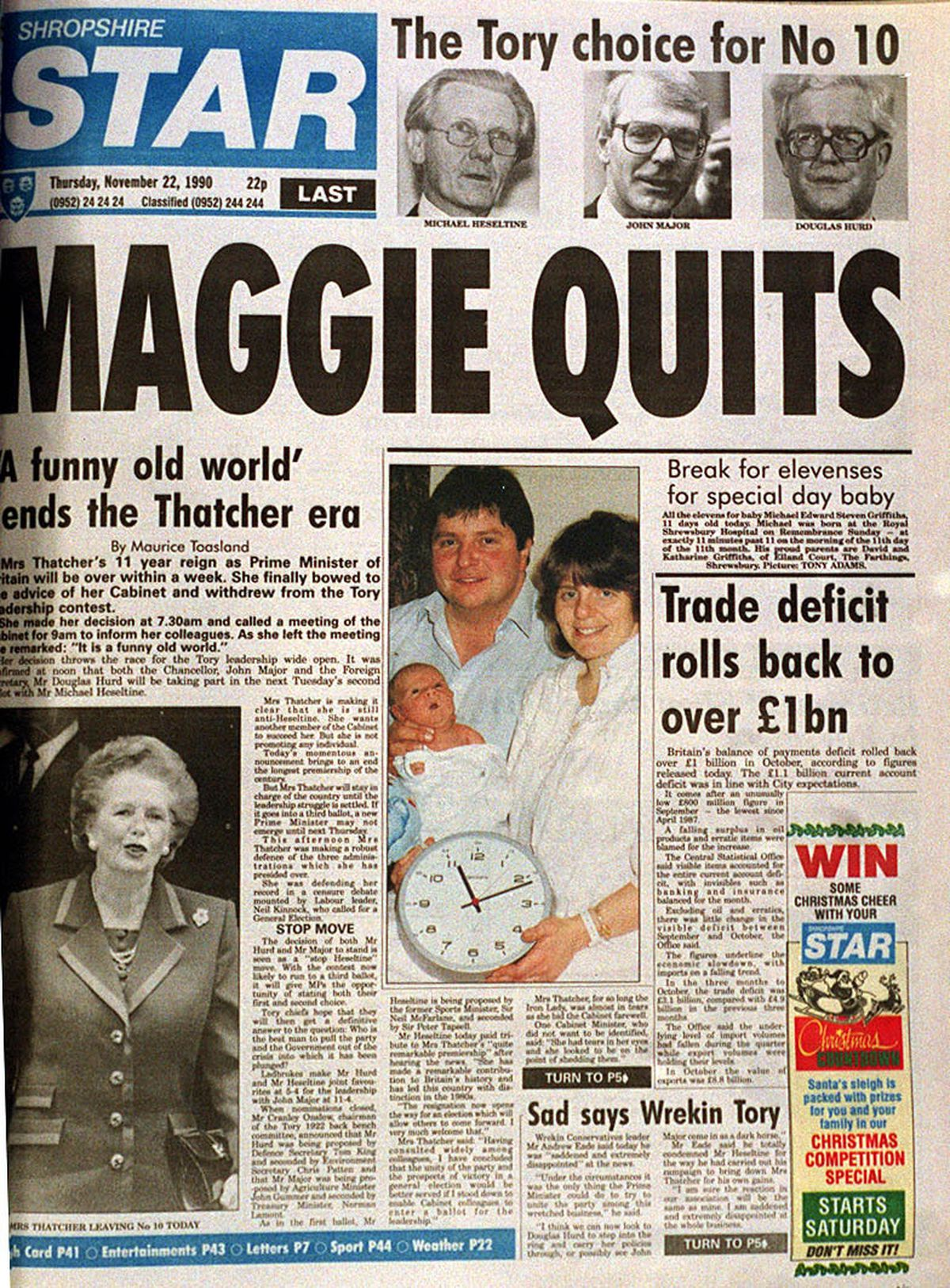 How the Shropshire Star reported Mrs Thatcher's resignation
