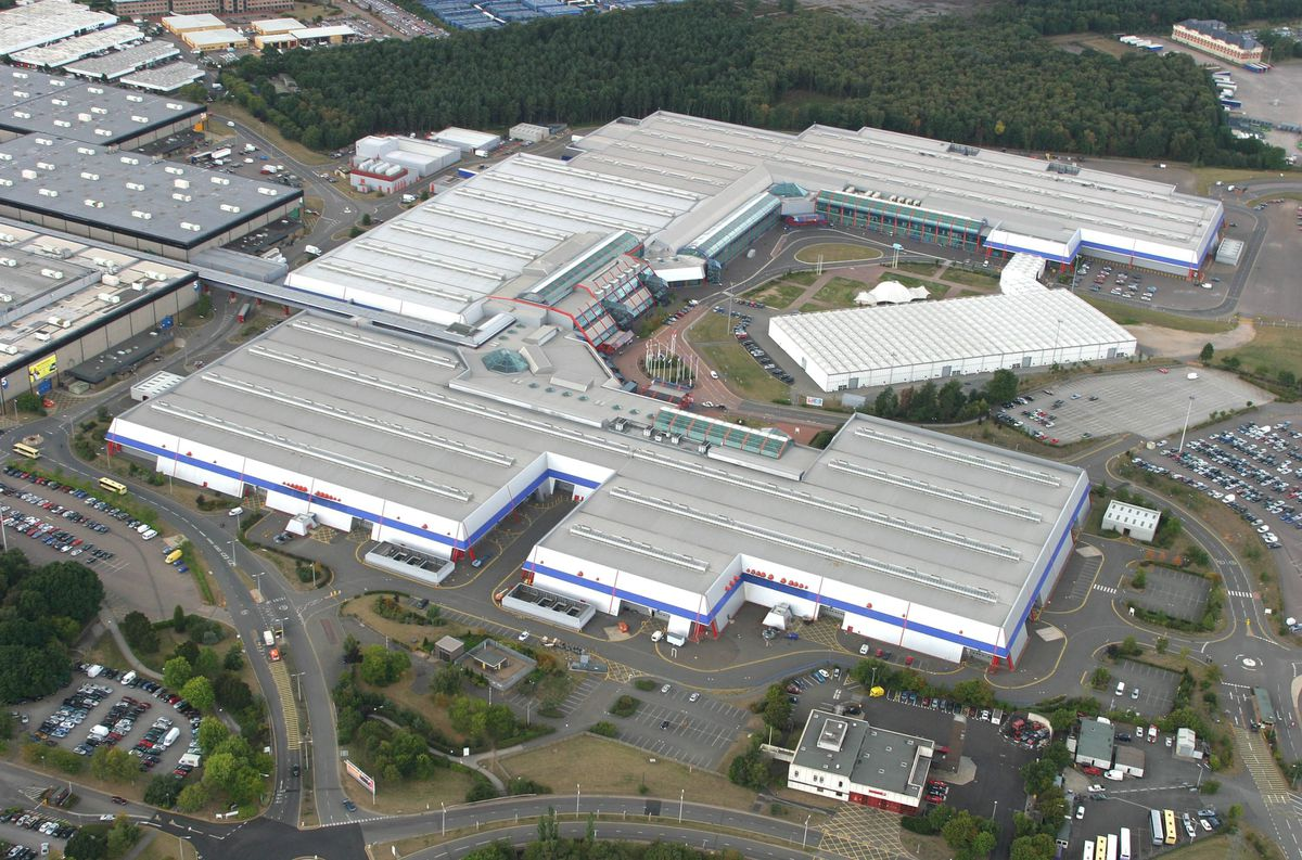 An aerial view of the National Exhibition Centre in Birmingham