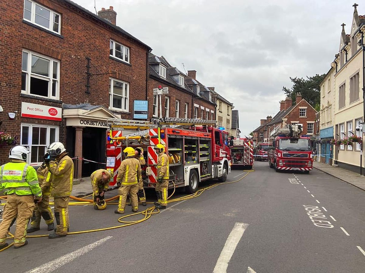 Emergency services at the scene of the fire. Photo: Market Drayton Fire Station.