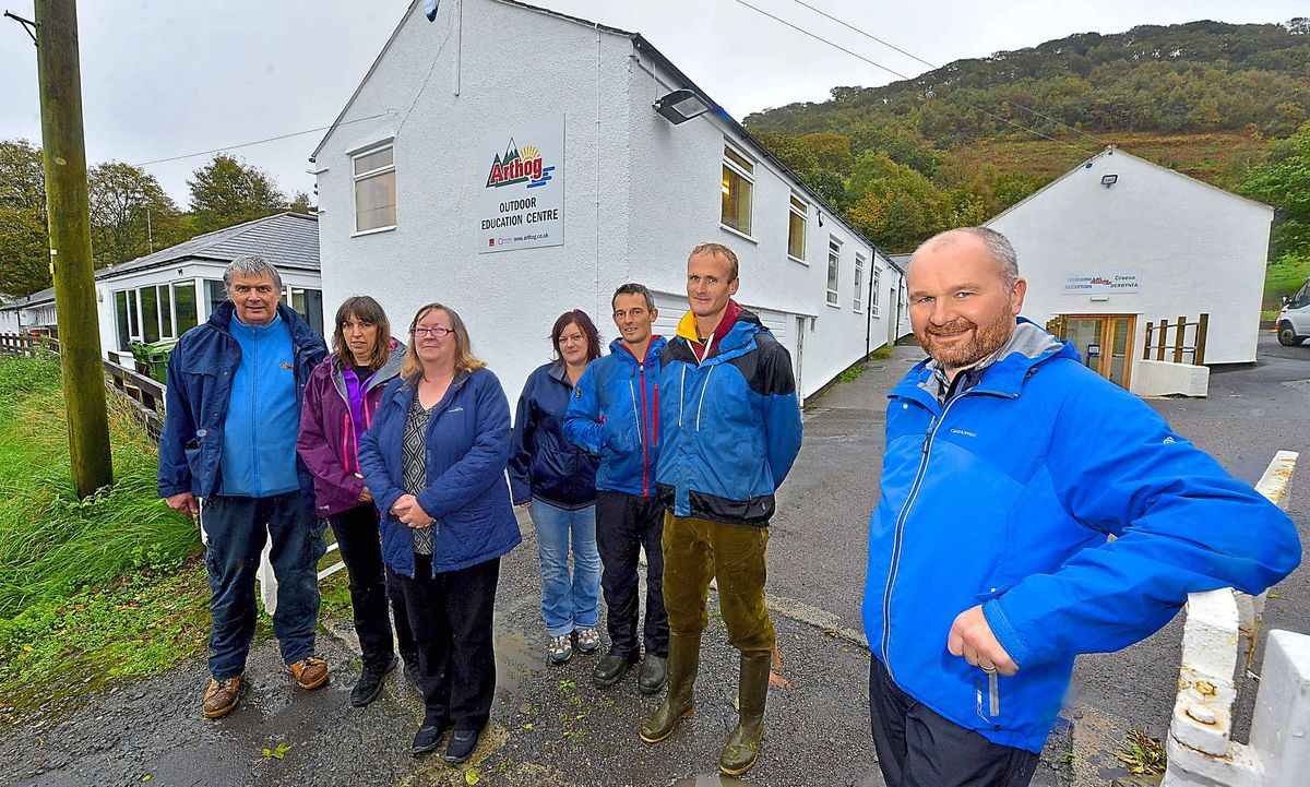 Centre manager Mark Youd, front, with, from left; Stuart Evans, Rachel Gibbons, Liz Cheese, Heather Black, Ben Griffiths and Ian Macer-Wright