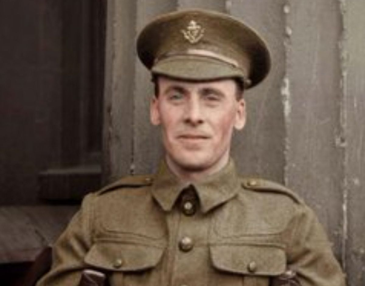 A colourised picture of Hednesford hero Tommy Hughes