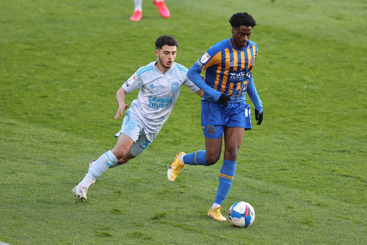 Armando Dobra of Ipswich Town and Nathanael Ogbeta of Shrewsbury Town. (AMA)