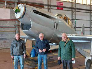 Association members Bob Buck, Terry Herrington and Harold Brookes with the replica Boulton Paul Balliol